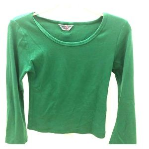 70s vibe green Long-sleeve top